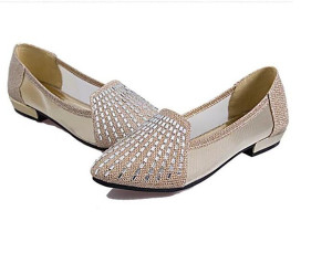 Chaussure Enfant Fille Spring Summer New Pointed Flat Shoes with Low Drilling Shallow Mouth Breathable Gauze Rhinestone Sandals Tide