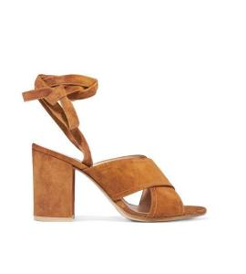 Drop shipping wholesale good quality 2016 arrival tan/Fuchsia suede thick heels gladiator women sandals 6.5cm heels