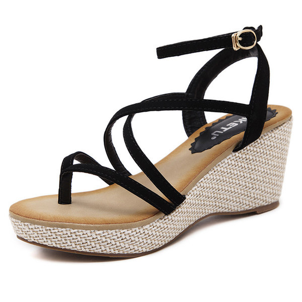 Fashion Gladiator Sandals Outdoor Women Casual Summer Shoes Sandals Platform Shoes Cross-tied Wedge Woman Sandals