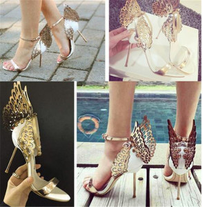 Fashion Wedding Party Womens Shoes Open Toes Shoes Summer Sandals Party Graduation High Heels Shoe Buckle Strap Heel 10 cm Butterfly Wings