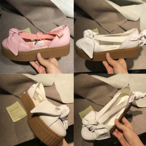 Fenty By Rihanna Creepers Collection Bow Creeper Sandals 365794-02 365794-01 Pink Tint Women Shoes Ankle Wrap Lace-Up Leather Ballet Flats