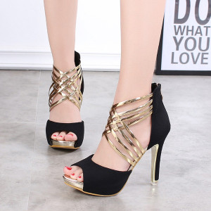 Free shipping brand sexy black gladiator sandal shoes metal cross-tied stiletto high heels peep toe sandals for summer