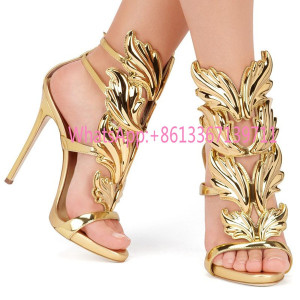 Gold Silver Gladiators Woman Wing Leaf Sandals Summer Shoes Genuine leather Wedding Party Shoes Stiletto Buckle High heels Pumps Brand