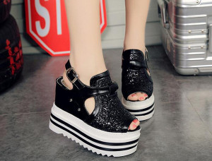 Han edition high-heeled sandals female student summer bottom fish mouth shoes 12 cm higher tide within the platform shoes