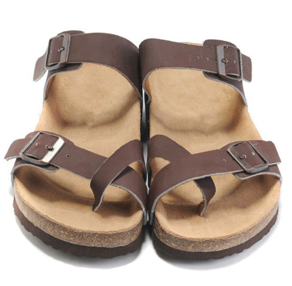 Hot Sale New Famous Brand Arizona Men's Flat Sandals Casual Shoes Male Buckle Beach Summer High Quality Genuine Leather Slippers Women Shoes