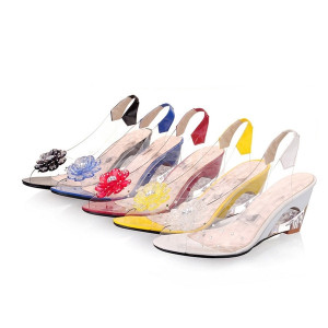 Hot Sales Summer Peep Toe Jelly Shoes Bohemian Style Crystal Transparent Wedges Sandals Women Sandals Size 34-43 TX0004 smileseller