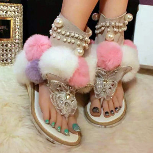 Latest Style Gladiator Sandals Women Light Sandalia Feminina Pearl Zapatos Mujer Butterfly Shoes Woman Flat Fur Ball Ankle Boots Casual Flat