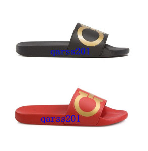Mens Fashion Bordered Diamond Rhinestone Slide Sandals Ferr Brand Red Gold And Black Gold Male Summer Outdoor Beach Sandals Slippers