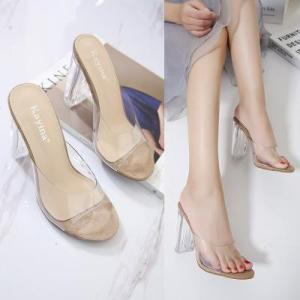 New arrival women high heels sandals transparent shoes for lady summer chunky heel slippers casual shoes