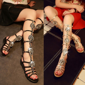 New Arrive leather sandals women summer shoes chaussure femme talon sandales zapatos mujer gladiator sandals women