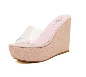 New Fashion Summer Thick Bottom High-heeled Platform Fish Mouth Waterproof Female Sandals A-word Wedge Slippers Shoes 34-40