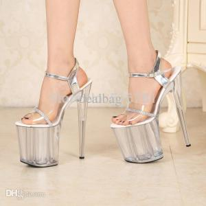 Sexy 20cm Temptation Crystal Sandals Ultra High Thin Heels Platform 8 Inch Clear Shoes Sexy Stripper Shoes Free Shipping