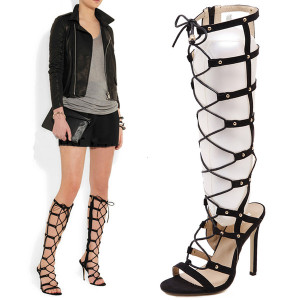 Sexy Black High Heels Gladiator Shoes Women Peep Toe Lace Up Thigh High Boots Summer Feminina Bota Over The Knee Sandals
