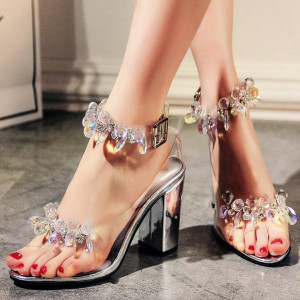 Sexy PVC Transparent Women Sandali chunky high heels open toe crystal decor shoes rhinestone clear Summer Sandals chaussures femme ete