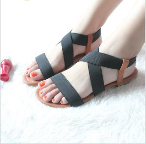Spring and summer Fish mouth models Roman shoes women 's sandals female students fish mouth flat bottom shoes rubber band stripper shoes