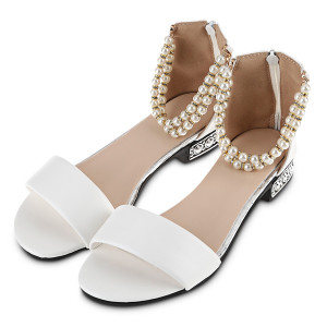 Stylish Pure Color Pearl String Strap Lolita Ladies Flat Sandals Women Beach Sandals String Bead Pearl Ankle Strap Candy Flip Flops Shoes+B