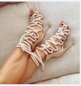 Summer Fashion Sandales Talon Femme Lace Up High Heels Sandal Party Shoes Women Cross Tied Strappy Gladiator Sandals Women