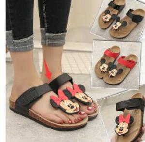 Summer Flats Fashion Flip Flops Shoes Cartoon type fashion Mickey Mouse cork slippers sandals for women