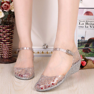Summer Women's Sandals Casual Jelly Beach Clear Crystal Classic Buckle Strap Sandals waterproof Mesh Flats Shoes