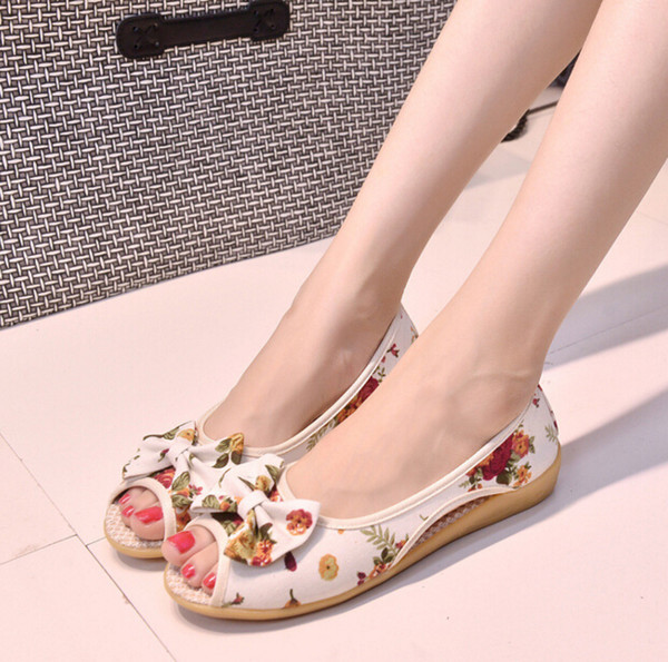 Summer Women Sandals Old Peking Fabric Shoes For Woman Bowknot Printed Cotton Fabric Oxford Outsole Peep Toe Shoes Womens Retail