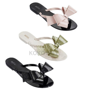 top quality Melissa jelly Harmonic Bow shoes sandals bowknot flip-flops female free shipping with box