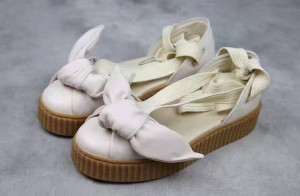 TopQuality Women Fenty Bow Creeper Sneaker Sandals Rihanna Lace Up Sandal Sneakers Leather rubber Beige Silver Natural Strap Sandales Femmes