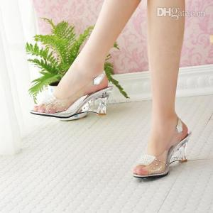 Wholesale-Free Shipping Fashion Sexy Summer Chaussure Shoes Glass Slippers Jelly Shoes transparent crystal Sandal Peep Toes wedges sandals