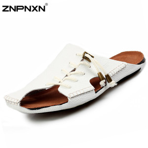 Wholesale-Genuine Leather Sandals Men Summer Shoes Brand Beach Slippers Men Black Sandals Chinelo Masculino New