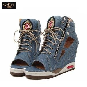 Wholesale-Hot Sales 2015 high Quality Casual sports sandals Woman Wedges high heels Denim peep toe gladiator sandals women Blue shoes