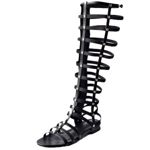 Wholesale-Vintage Rome 2016 Summer Knee High Gladiator Sandals Peep Toe Woman Cross-tied Gladitor Sandals Date Party Summer Shoes Flats