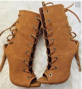 women brown high heels ankle boots lace up summer sandals