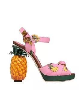 Women Pink Cloth Platform ananas Sandals PineApple Chunky High Heels Summer Shoes Woman bowtie Ankle Strap Chaussure Femme Ete Zapatillas