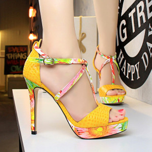 Women Shoes Extreme High Heel Sandals Buckle Pumps Peep Toe Platfrom T-tied Floral Shoes Black Pink Red Bule Yellow White