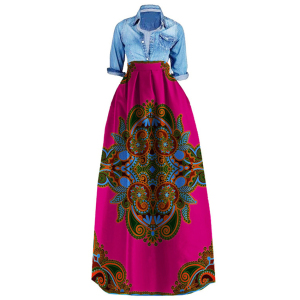 Dashiki Print  News African Dresses for Women Bazin Wax Fabric Plus Size African Clothes for Female Skirts Ankara Dresses