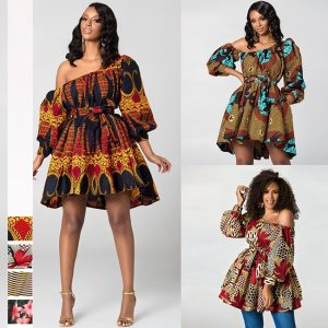 Free Shipping Shoulder Off   News African Dresses for Women Bohemian Print Elastic Clothes Sexy Dashiki Style Clothing