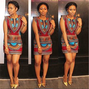 African Clothes  News Dashiki Print Ankara African Dresses for Women Bazin Sexy Short Sleeve Robe Africaine Streetwear Party