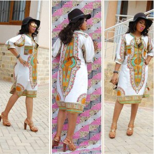 Women African Dresses National Style Classic High Elasticity Printed Slim V-neck Open Chest Stand Collar  Sexy White Dress