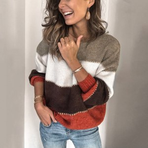 Striped Splice Women Sweater and Pullovers Autumn Knitwear Female Sweaters O Neck Casual Loose Ladies Tops Pull Jumper Winter