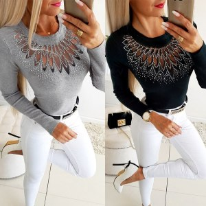 Black Black Gauze Patchwork Hollow Out See Through Knitted Tops Women Long Sleeve Hot Drill Elegant Office Ladies Slim Pullover
