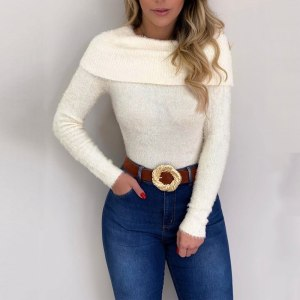 Elegant Off Shoulder Sweater Autumn Knitted Long Sleeve Slim Thin Jumpers Sweater Female Autumn Pull Femme White One Word Collar