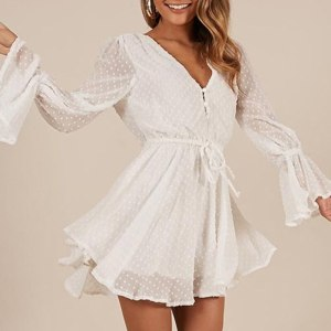 Women Chiffon Jumpsuit Casual Playsuit Rompers Fashion Elegant Ladies Party Wear V Neck Long Sleeves Bell Cuff Button Dot Summer