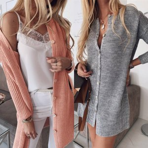 Women Knitted Sweater Long Cardigan Coat Single-Breasted O Neck Casual Long Sleeve Loose Straight Sweaters Pink Elegant Ladies