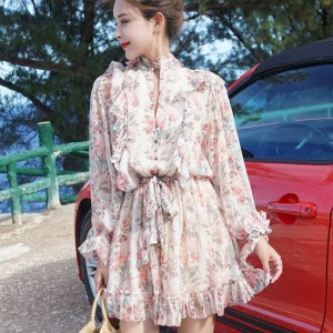 Floral Print Bow Sweet Ruffle Chiffon Jumpsuits Rompers Short Jumpsuit up Elegant Casual Buttons Fairy Maiden Summer Lace Women