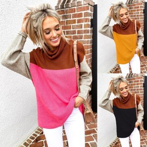 Turtle-neck Patchwork Knitted Fashion Slim Pullovers Ladies Autumn Warm Sweater Pull Tops Winter Loose Causal Sweaters Jumper