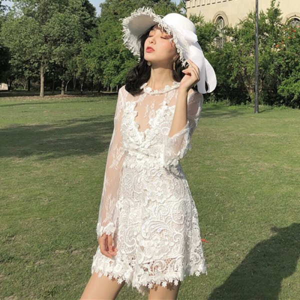 Sexy Lace Embroidery Mesh Transparent Temptation Short Jumpsuits Rompers Women Sweet Fairy Female Summer Patchwork Playsuits