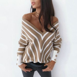 Sexy Striped V Neck Off Shoulder Knitted Sweater Woman Elegant Office Ladied Autumn Clothes Thin Pullover Casual Top Black Khaki