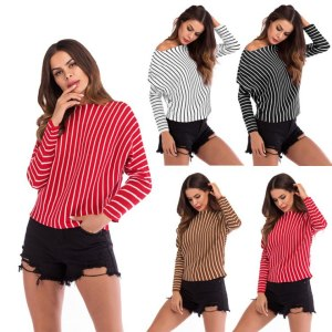 Autumn Striped Knit Top Batwing Sleeve O neck Women Casual Comfortable Simple Loose Pullovers Thin Sweater Red Black Khaki White