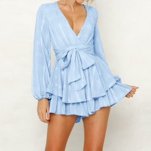 Solid Deep V Neck Bw Tie Slim Elegent Playsuits Sexy Jumpsuits Short Rompers Overalls Lantern Sleeve Spring Summer Women Lace up