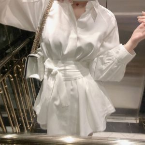 Two Piece Set Casual Lace up OL Jumpsuits Rompers Pleated Jumpsuits Elegant Summer Women Sashes Wide Leg Short Female White