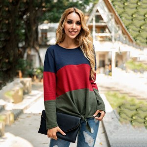 Round Neck Stitching Bow Lace Up Sweater Women Long Sleeve Slim Fit  Autumn Winter New Style Knitted Pullovers Tops Female